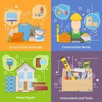 Set di icone di materiali da costruzione 2x2