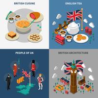 Set di icone isometrica turistica 2x2 Gran Bretagna vettore