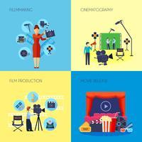 Quadrato delle icone di concetto di filmmaking 4 vettore