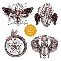 Set di tatuaggi occulti magici vettore