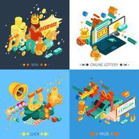 Set di icone di concetto di lotteria e jackpot