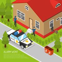Illustrazione isometrica di risposta dell'allarme di sicurezza domestica