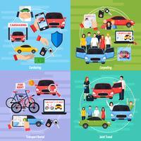 Insieme di icone di concetto di car sharing