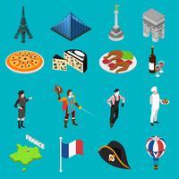 Collezione di icone isometriche di tradizioni cultura francese vettore