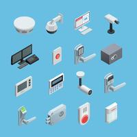 Set di icone isometriche di sicurezza domestica vettore