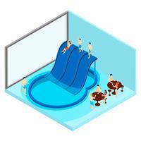 Illustrazione di parco acquatico al coperto