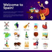 Benvenuti in Spagna Infographic Symbols Poster vettore