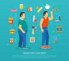 Illustrazione di salute e obesità vettore