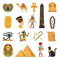 Set di icone turistiche di Egitto vettore