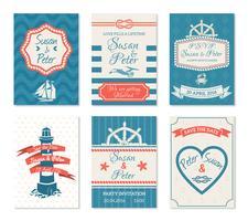 Carte di invito di nozze in stile nautico vettore