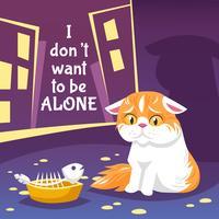 Illustrazione di gatto senza casa