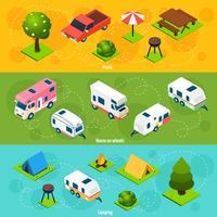 Campeggio e viaggi banner orizzontali isometriche
