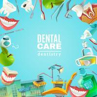 Poster di sfondo piatto telaio cura dentisti vettore