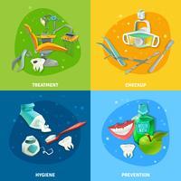 Banner quadrato 4 icone piatto del dentista vettore