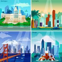 Set di icone di concetto americano Cityscapes vettore