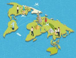 Poster di turisti e luoghi d'interesse