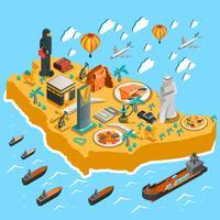 Modello di mappa isometrica dell'Arabia Saudita