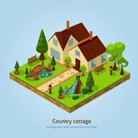 Concetto di progetto del paesaggio del cottage del paese isometrico vettore