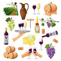 Icone del vino di colore messe su fondo bianco