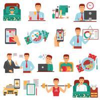 Set di icone di routine quotidiana dell'uomo