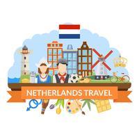 Composizione piana di viaggio nei Paesi Bassi vettore