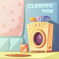 Illustrazione del tempo di pulizia vettore