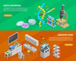 Set di banner orizzontali di scienza vettore