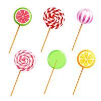 Set di icone realistiche di caramelle lecca-lecca dolci vettore