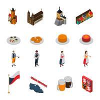 Raccolta isometrica delle icone di simboli della repubblica Ceca vettore