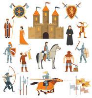 Set di icone decorative medievali vettore