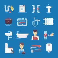 Fondo blu della raccolta delle icone piane dell'impianto idraulico vettore