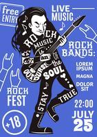 musica lettering sagoma poster rock vettore