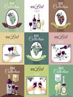 Set di Poster di menu vino
