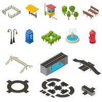 Set di icone isometriche città vettore