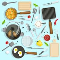 Set da vista dall'alto di Chef Workplace