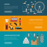 Set di banner piatto di monumenti di Londra vettore