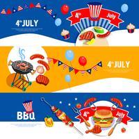 Set di bandiere di celebrazione giorno dell'indipendenza barbecue vettore