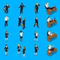 La gente di affari lavora le icone isometriche messe vettore