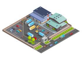 Composizione isometrica del magazzino vettore