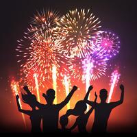 Manifesto di sagome umane nero festivo fuoco d'artificio