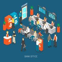 Illustrazione interna dell'ufficio della Banca vettore
