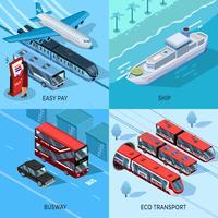 Concetto di design isometrico 2x2 di trasporto passeggeri