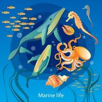 Illustrazione di vita sottomarina dell'oceano vettore