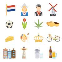 Set di icone piane di Paesi Bassi vettore