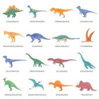 Set di icone isolato colorato di dinosauri vettore