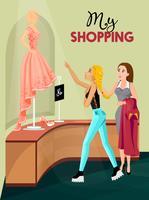 Shopping Girl In Store Interior vettore