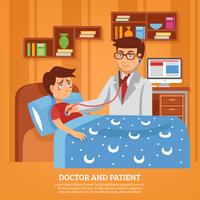 Illustrazione piana del dottore Assisting Patient Home