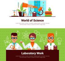 Banner di lavoro di scienza e laboratorio vettore