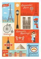 Set di icone di stile vintage di Parigi Francia vettore