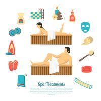 Illustrazione di illustrazione di visita di famiglia di bagno di sauna